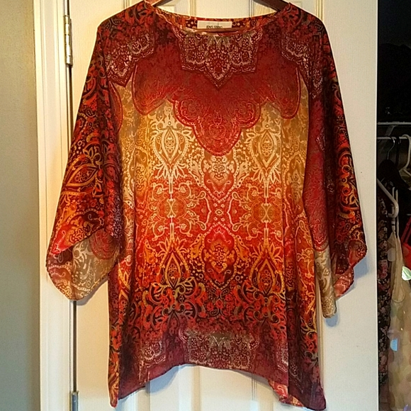 Boho stained glass silk tunic